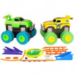 Машинки на бат. Trix Trux набор 2 машинки с трассой (зеленый+желтый)