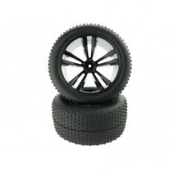 31504B 1:10 Black Truggy Tires and Rims 2P