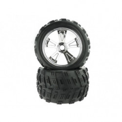 8E161 1:8 Chrome Rim & Tire Complete For Monster Truck 2P