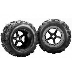 "Team Magic E6-3 Mounted Tire 7.1"" Size - New 5 spokes wheel 2p"
