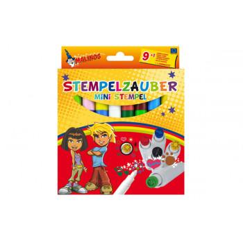 Фломастеры-штампы меняющие цвет Malinos Stempelzauber 9+1 шт