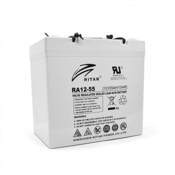 Аккумуляторная батарея AGM RITAR RA12-55, Gray Case, 12V 55.0Ah