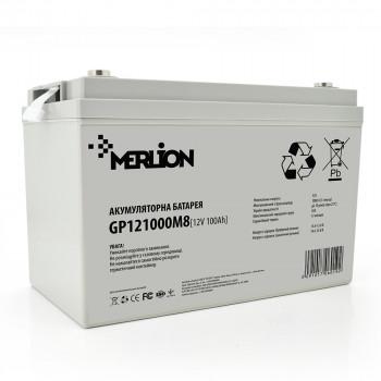 Аккумуляторная батарея MERLION AGM GP121000M8 12 V 100 Ah White / Black