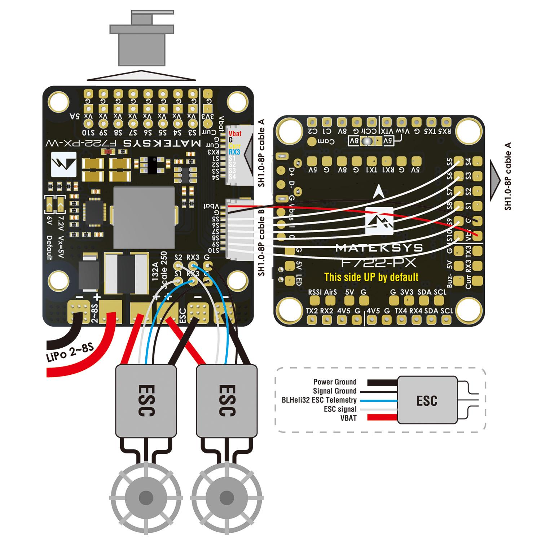 F722-PX-W FOR FIXED WING Подключение