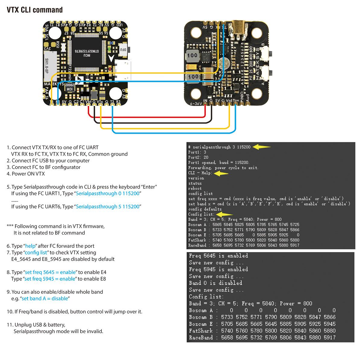 Matek VTX-Mini управление по CLI